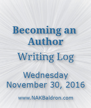 Becoming an Author Writing Log - November 30th, 2016