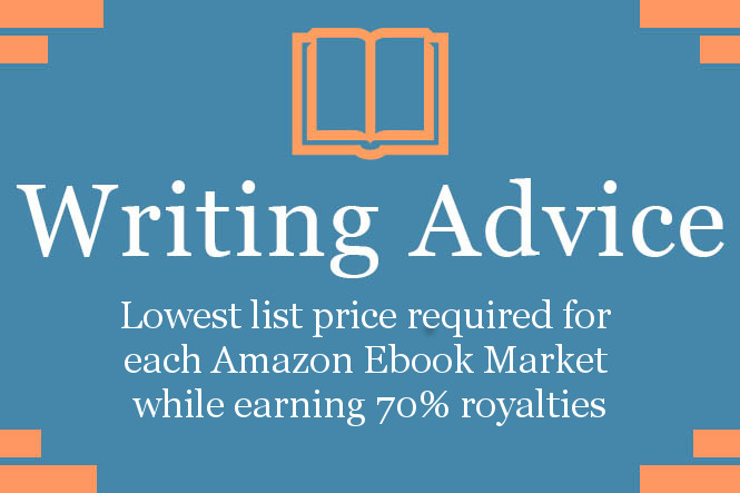 Lowest list price required for each Amazon Ebook Market while earning 70% royalties